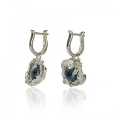 Contemporary water casted silver earrings