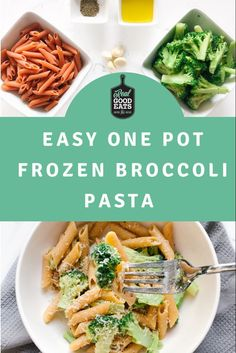This Easy One-Pot Frozen Broccoli Pasta comes together in minutes and requires very little prep! Perfect for a simple weeknight dinner. #dinner #mealideas #healthyeating #healthydinner #easyrecipe #lazyrecipe #onepotpasta One Pan Dinner Recipes, Vegetarian Recipes Dinner, Healthy Recipes, Broccoli Pasta, Frozen Broccoli, Healthy Weeknight Dinners, Easy Meals, Nutrition Tips, How To Cook Pasta