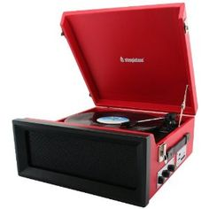Steepletone SRP1R-11 Retro Style 3 Speed Record Player with Radio - Red: Amazon.co.uk: TV