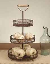 Vintage Inspire Three Tier Wire Tray Stand with Handle - Home Decor Organization