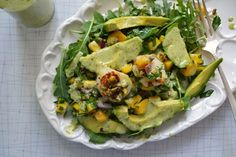Arugula salad with pistachio-crusted scallops, from Dinner with Julie.