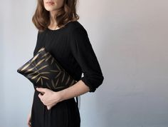 Golden Palm Leather Zipper Clutch by kertis on Etsy