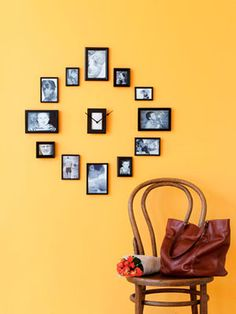 "Show off some of your clan's favorite moments with this clever DIY wall clock. Gather 13 frames, sizes 2"" by 3"" to 4"" by 6"" (unify mismatched frames with spray paint), 12 photos, a clock kit (from a crafts store), and white paper and cardboard (to hide clock mechanism). Pop snapshots into 12 frames. Take out remaining frame's glass; use it to cut cardboard and paper to fit, and place in frame. Poke a hole through center to fit the clock's spindle. Push spindle through; reattach the clock's hands. Hang as shown."