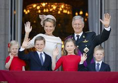The new King Philippe, Queen Mathilde, and their children, Elisabeth (11), Gabriel (9), Emmanuel (7), and Eleonore (5) of Belgium. July 2013.