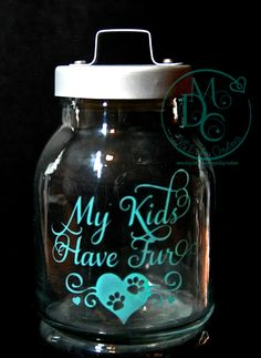 Glass Etched Small Cat or dog Treat Jar Container My Kids Have Fur Tinted Aqua Blue Sandblasted Sand Carved Glass Art Glass Etching - pinned by pin4etsy.com