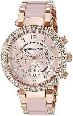 Michael-Kors-MK5896-Parker-Rose-Gold-Tone-Blush-Acetate-Women-039-s-Watch