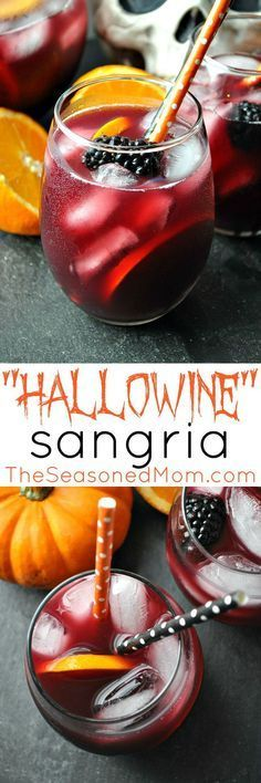"""Hallowine"" Sangria is a festive and easy cocktail to serve at your adult Halloween party this year! #DiabloHalloween #ad #contest"