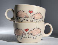 Espresso Cups  Hedgehogs in Love Espresso Cups  Set by abbyberkson, $40.00