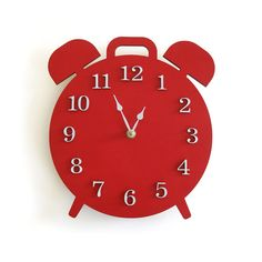 Modern Retro Alarm Shaped Clock  Red by decoylab on Etsy, $68.00