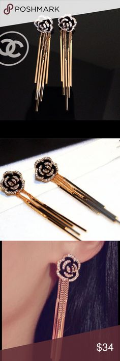 14k crystal camellia flower earrings New- 14k gold plated with crystals. How gorgeous are these!!? Not of brand just inspired by the iconic camellia flower. CHANEL Makeup
