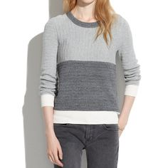 Madewell Colorblock Linear Stitch Sweater Madewell Colorblock Linear Stitch Sweater. Ribbing placed at right angles for subtle contrast.  -True to size. -Cotton. -Hand wash. Note: I accidentally threw it in the washing machine and the dark gray color bled into the beige part, and now it's light gray.   NO trades. Please make all offers through offer button. Madewell Sweaters Crew & Scoop Necks