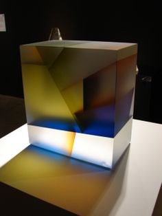 """Leaf Cuboid"" (2010), by Jiyong Lee. Cut color laminated, carved glass."