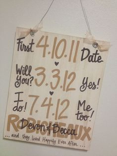 Custom Hand-Painted  Wedding Anniversary Announcement with Dates on 12x15 wood sign gift. $50.00