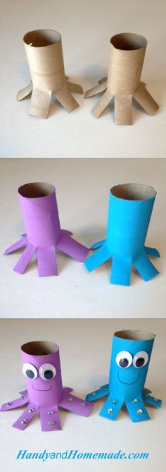 Kids Octopus Toilet Paper Roll Craft For Kathryn's room. Daycare Crafts, Toddler Crafts, Preschool Crafts, Diy Crafts For Kids, Projects For Kids, Craft Activities, Toddler Activities, Toilet Paper Roll Crafts, Paper Crafts
