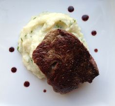 Filet Mignon with Red Wine Sauce (and Cauliflower Puree with Parmesan and Chives)- Domesticate ME!