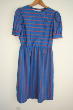 Vintage Blue Red & Green Striped Dress by Leslie Fay by vintapod, $20.00