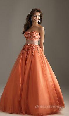 a line strapless sweetheart gradient pattern  Orange Dress #2dayslook #jamesfaith712 #OrangeDress  www.2dayslook.com