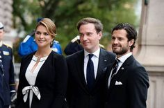 Christopher O'Neill with his wife Princess Madeleine of Sweden, and Prince Carl Philip