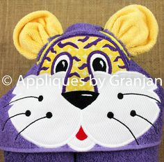 Tiger Hooded Towel with Wash Cloth Ears by AppliquesByGranjan
