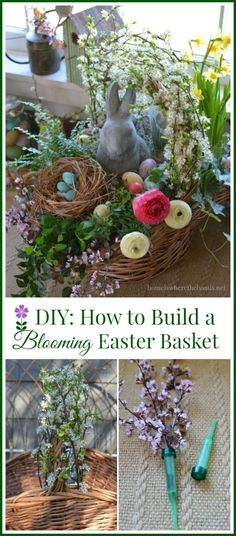 Easy tips and tricks for building a blooming Easter basket! Good tutorial for creating a centerpiece with a basket using pots of flowers for Mother's Day or May Day too! | homeiswheretheboatisnet #DIY #Easter