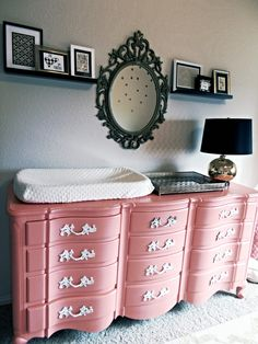 Coral Pink Vintage Dresser/Changing Table - such a fun pop of color and personality to this coral and gold nursery!