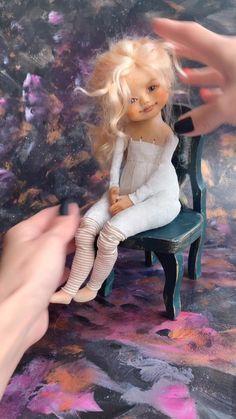 Art doll • OOAK DOLL Doll Face Paint, Doll Painting, Doll Crafts, Diy Doll, Homemade Dolls, Barbie, Polymer Clay Dolls, Sewing Dolls, Fairy Dolls