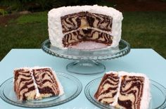 Coconut Chocolate Zebra Cake | This zebra cake alternates both chocolate and vanilla cake batter to create the zebra effect. @mycakeschool