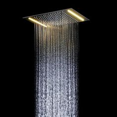 LED Shower Head Temperature Detectable RGB 3 Color Changing 8 inch Square USA
