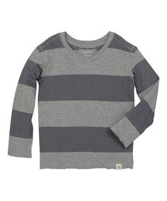 Loving this Charcoal Rugby Stripe Organic Tee - Infant & Toddler on #zulily! #zulilyfinds
