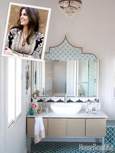 """Bathroom- """"The pattern above the mirror is a stencil. There's also a chandelier, which I found in the souk, just above that.""""  Read more: http://www.housebeautiful.com/shopping/decorating-trends/maryam-montague-moroccan-bathroom#ixzz2jOYByw00"""