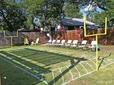 spray paint a mini football field for bday!
