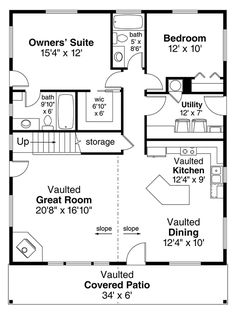 Cabin Plan: 1,706 Square Feet, 2 Bedrooms, 2 Bathrooms - 035-00823
