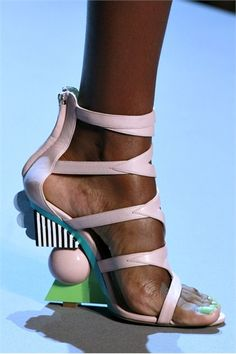 Christian Dior - Pink Leather Cut-Out Sandal with Sculpted Heel
