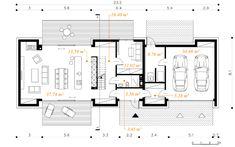 Otwarty - dom parterowy z poddaszem użytkowym i garażem   doomo Small House Plans, House Layouts, Modern House Design, Architecture Design, Pergola, New Homes, Floor Plans, Flooring, How To Plan