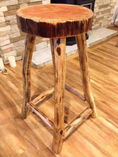 Rustic log wood stool furniture