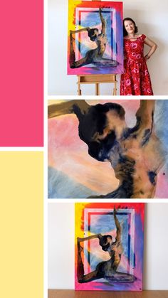 'A Light Touch' is a large rainbow multicoloured resin and acrylic figure painting of a yogi in pigeon yoga pose Resin Paintings, Light Touch, Online Yoga, Yoga Art, Yoga Retreat, New Artists, Figure Painting, How To Do Yoga, Dancers