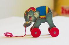 A dollhouse miniature pull toy elephant - how precious!