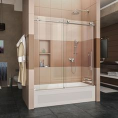 DreamLine Enigma-X 56 to 59 in. x 62 in. Frameless Sliding Tub Door in Polished Stainless Steel with handle