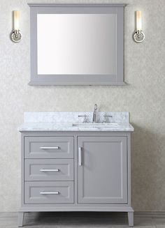 Photo On Ace inch Single Taupe Grey Bathroom Vanity Set with Mirror