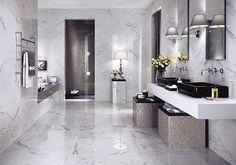 Shining är en lyxig granitkeramik med en härlig ton av Carrara marmor. Finns även i mosaik.