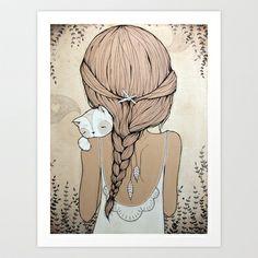Stay Close Art Print by Kelli Murray - $18.00 girl. braid. illustration. kitty cat.
