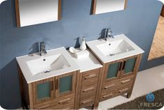 "60"" Walnut Brown Double Sink Vanity w/ Side Cabine Cascata Brushed Nickel Faucet - contemporary - Bathroom Vanities And Sink Consoles - Luxury Bath Collection"