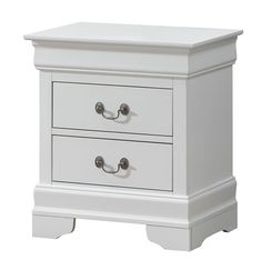 Darby Home Co This nightstand has the perfect combination of traditional style with a classic look. This nightstand in a white finish, features a detailed Dovetail French front and English back with two drawers and 1 hidden drawer. 3 Drawer Nightstand, White Nightstand, Quality Furniture, Furniture Deals, Furniture Outlet, Shabby Chic Furniture, Bedroom Furniture, Metal Drawers, Drawer Handles