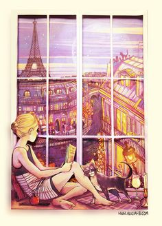 This is actually a 3D image - there are 3 different mounted layers of cut outs, glued on top of each other. The girl is one layer, over the window layer, over the background image.  Ah, Paris.