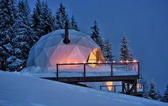 Find yourself in this #winter #wonderland of unique accommodations at #Switzerland's #Whitepod. #Domes #Glamping #Travel #WinterVacation