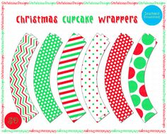 Printable Christmas Cupcake Wrappers by StefaliciousDesigns