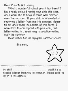 Write to your kiddos over the summer and print out this free letter!