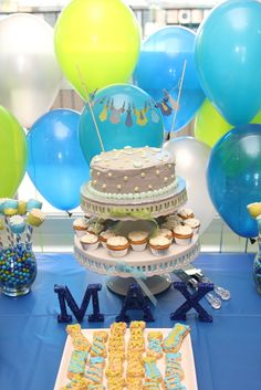 """Photo 7 of 31: Lime Green & Aqua Blue Necktie Little Man Shower / Baby Shower/Sip & See """"A Baby Shower Fit for a Little Gentleman"""" 