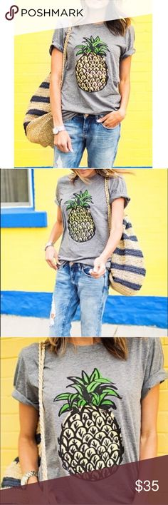 Pineapple Short Sleeve Tee More description coming soon! Photos courtesy of @51twenty boutique Tops Tees - Short Sleeve