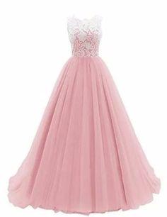 Damen A-Linie langes Lace Tuell Abendkleid Ballkleid brautjungfer Cocktail Party kleid Hochzeit Kleid: Amazon.de: Bekleidung